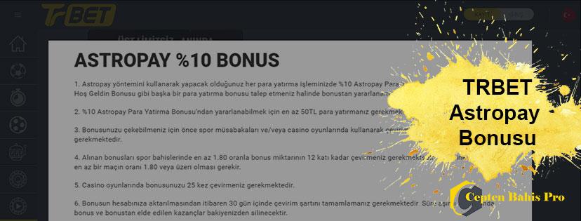 Üst limitsiz Trbet Astropay Para Yatırma Bonusu